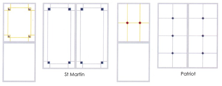 St Martin and Patriot glass decoration comparison diagram