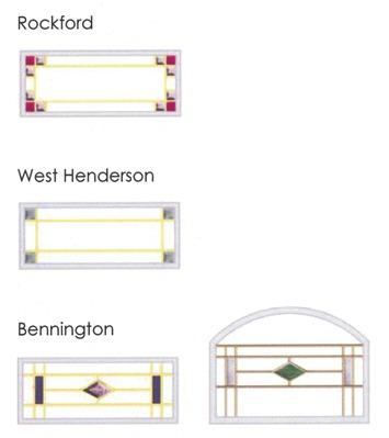 Rockford, West Henderson, and Bennington glass design comparison diagram