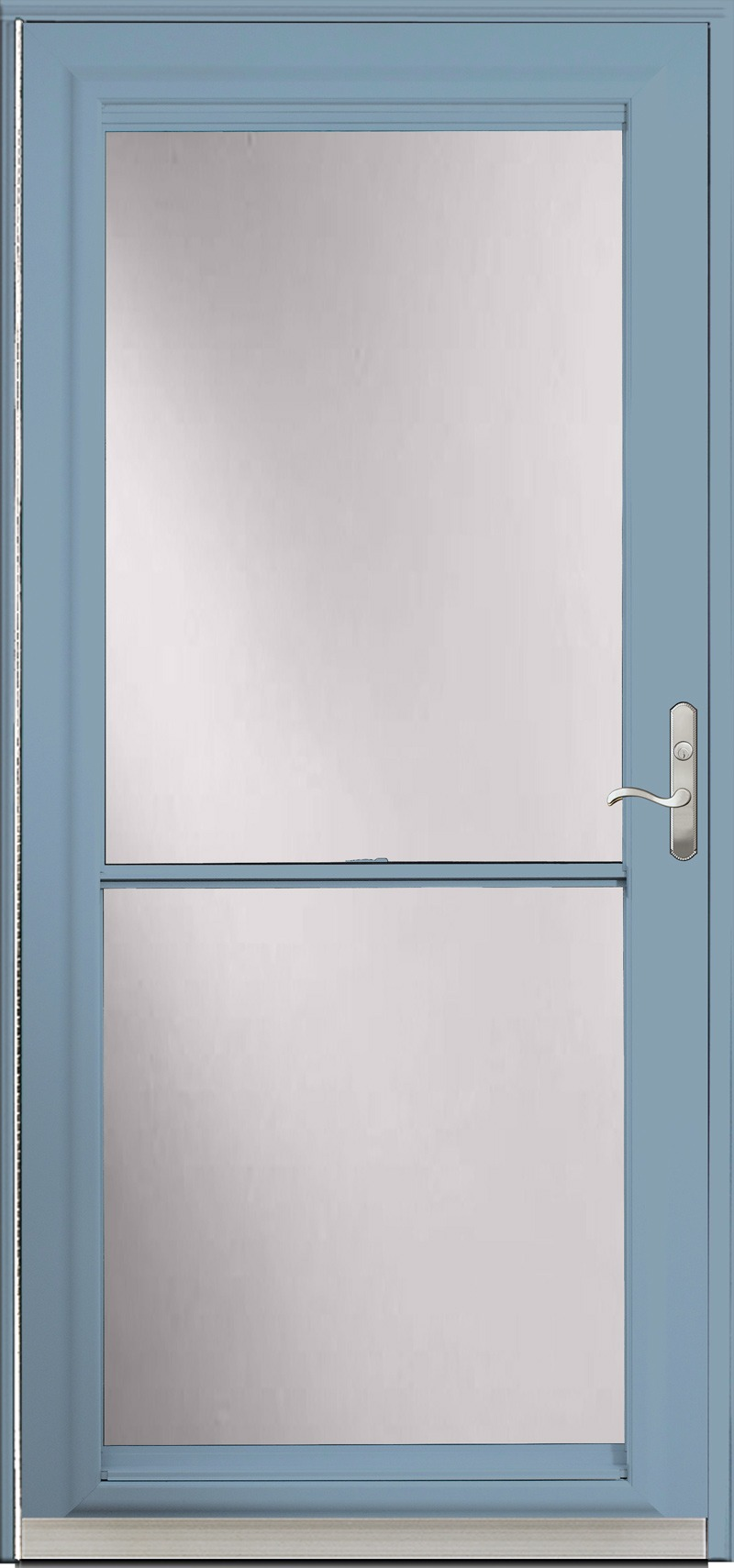 A blue door with frosted glass inside