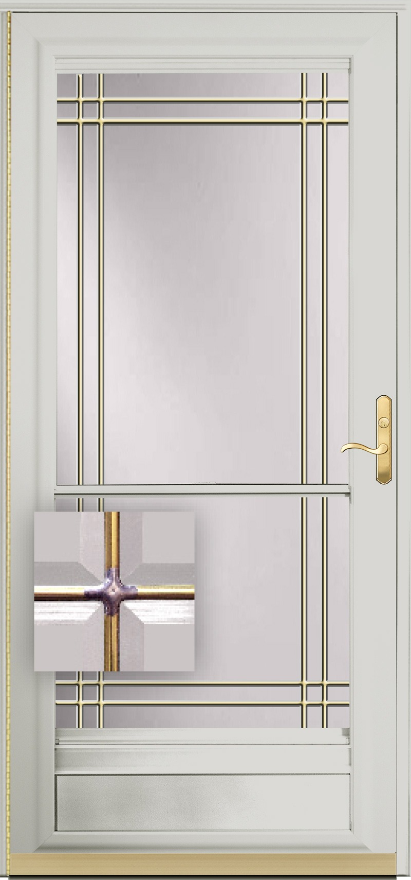 A white door with etched glass and metal inlay