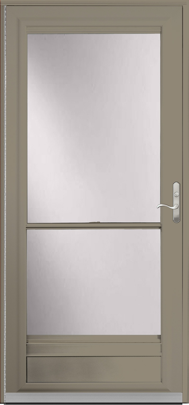 A dark tan door with glass inside
