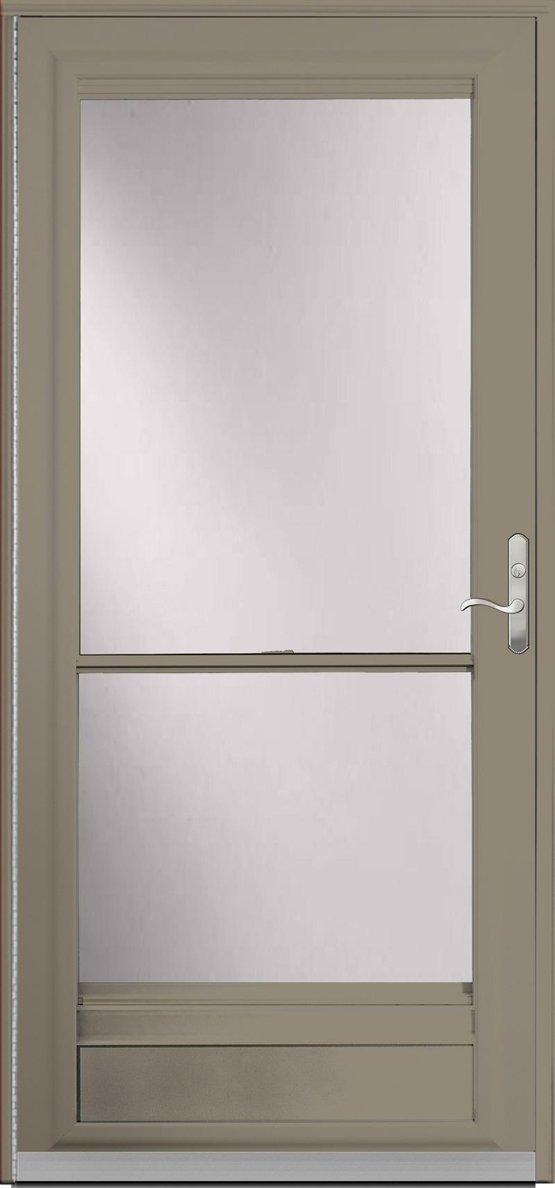 A dark tan door with glass inside