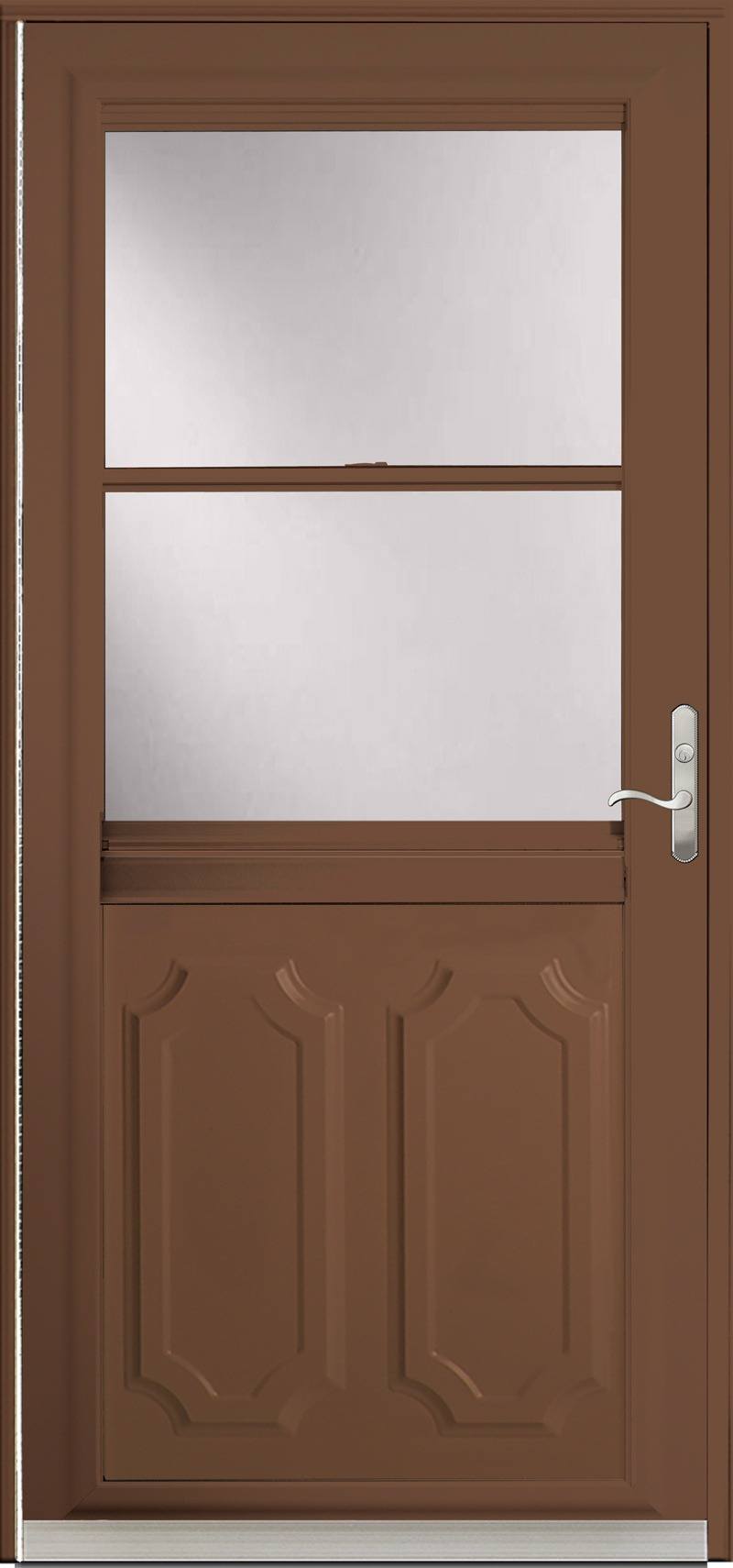 A stained wood door with glass in the upper half