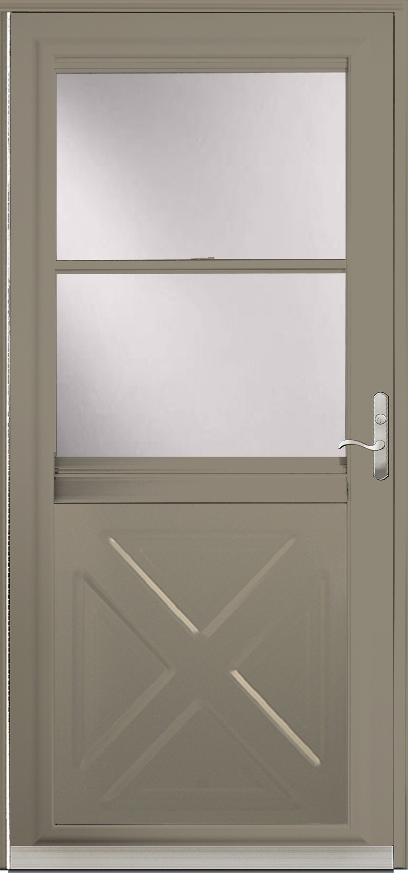 A Tan door with glass in the upper half