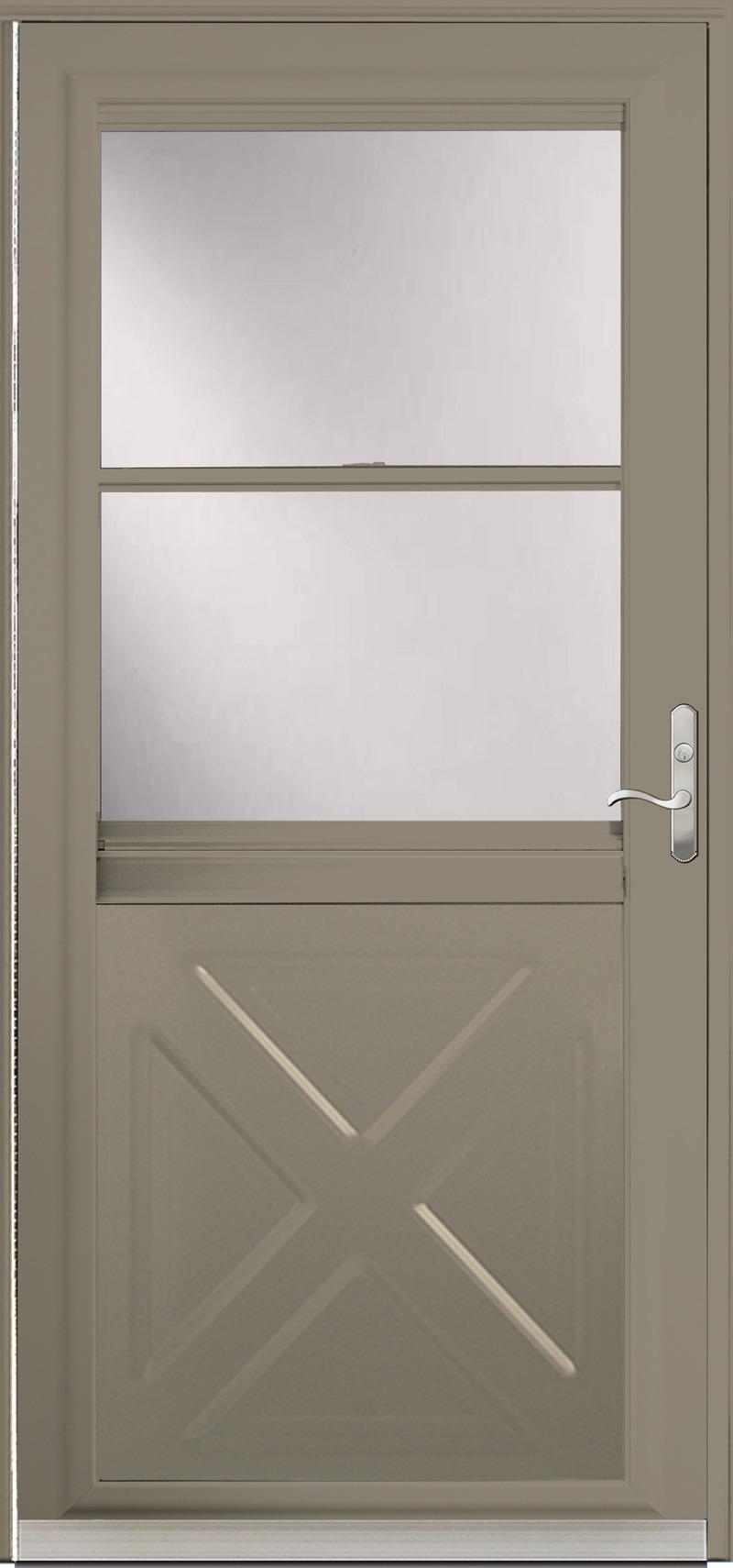 A Tan door with glass in the upper half