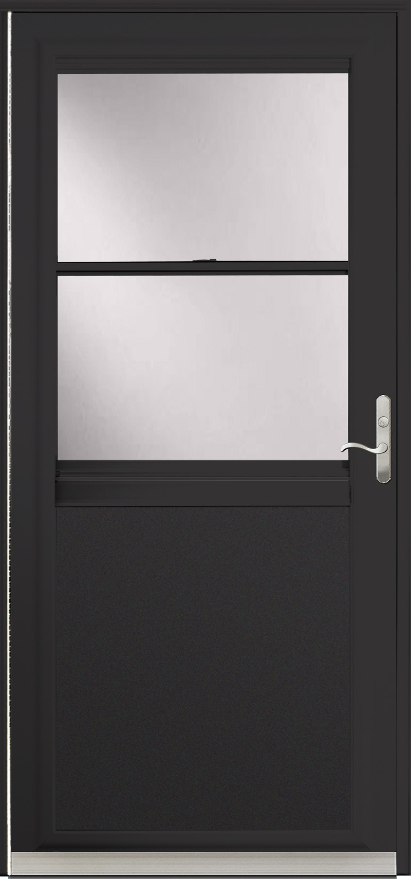 A door with a black frame and glass
