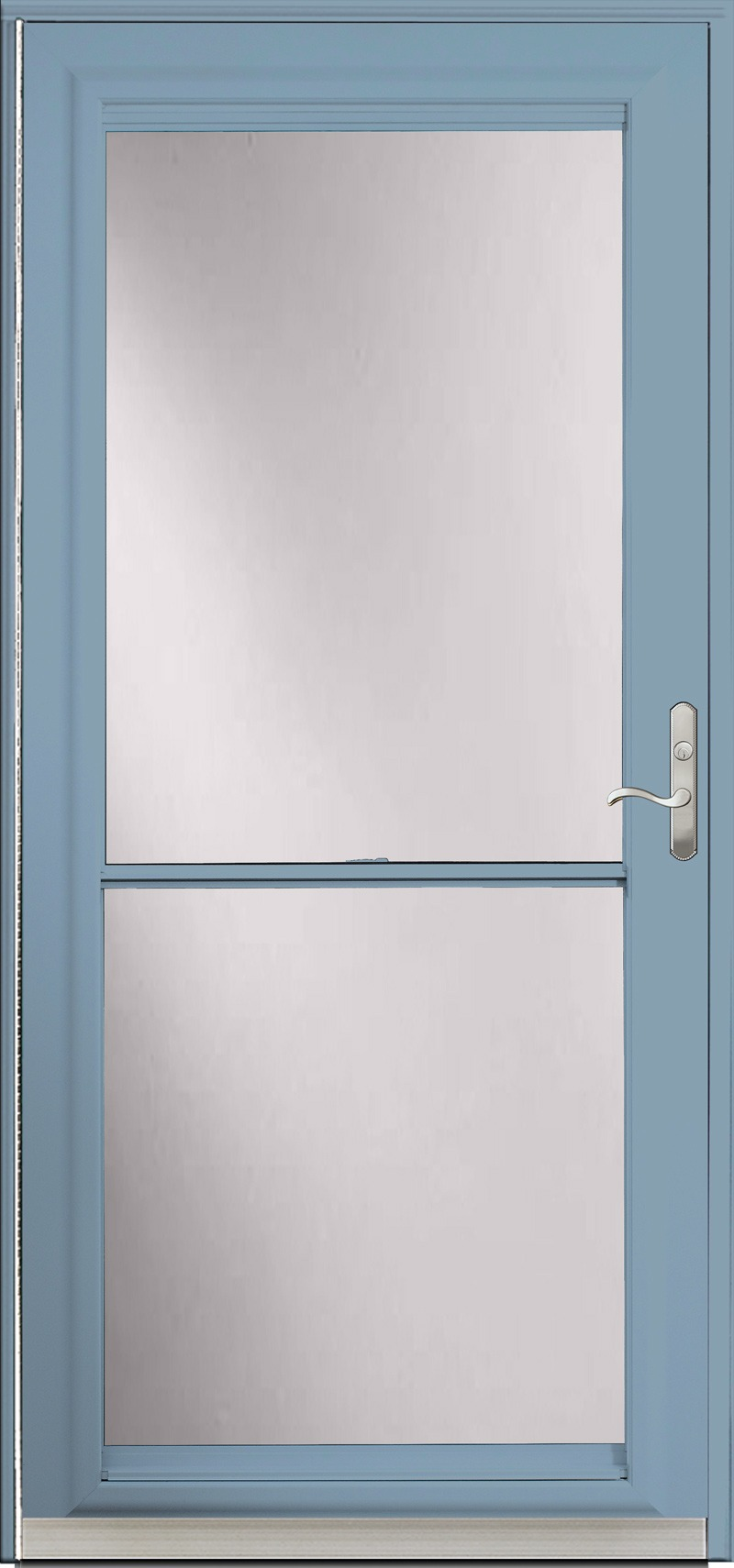 A door with a blue frame and glass