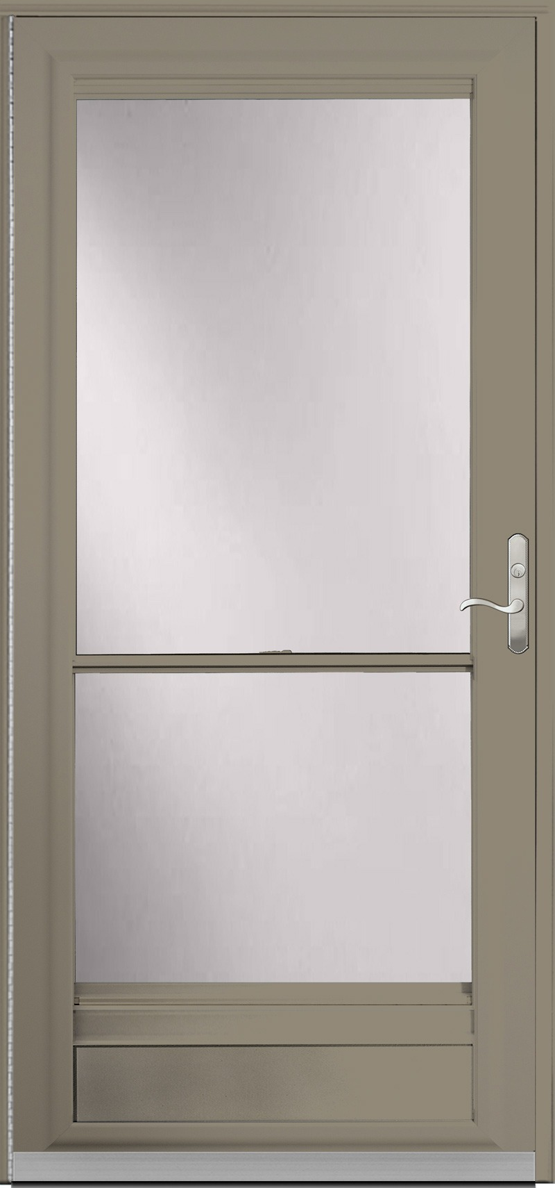 A door with a dark tan frame and glass