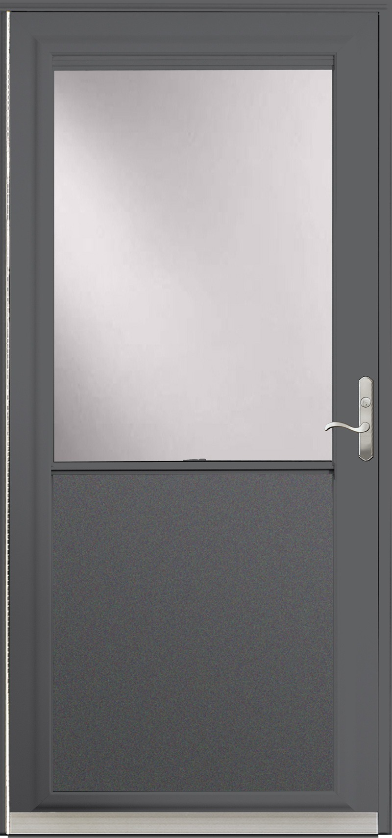 A single dark gray door