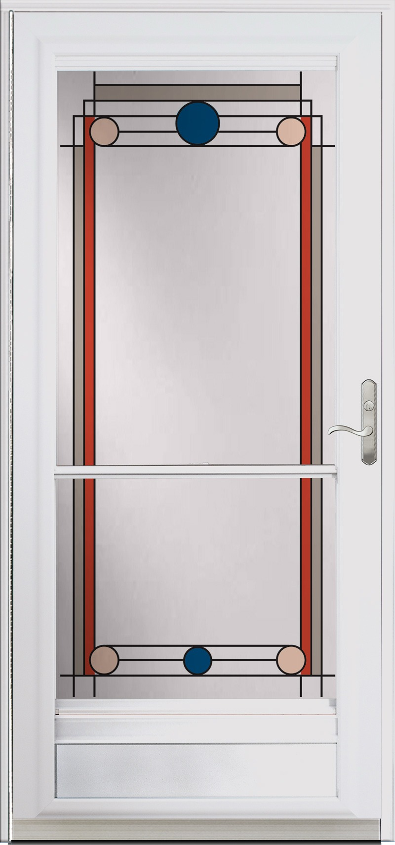 A single door with colored designs along the sides, top, and bottom