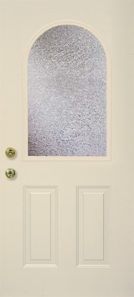 A single medium-width door grid with a more heavily rounded top in the center of the door.