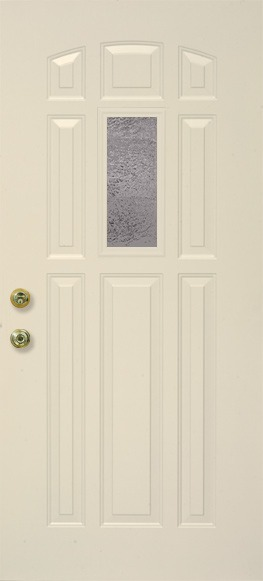 A single rectangular door grid on the upper section of a door