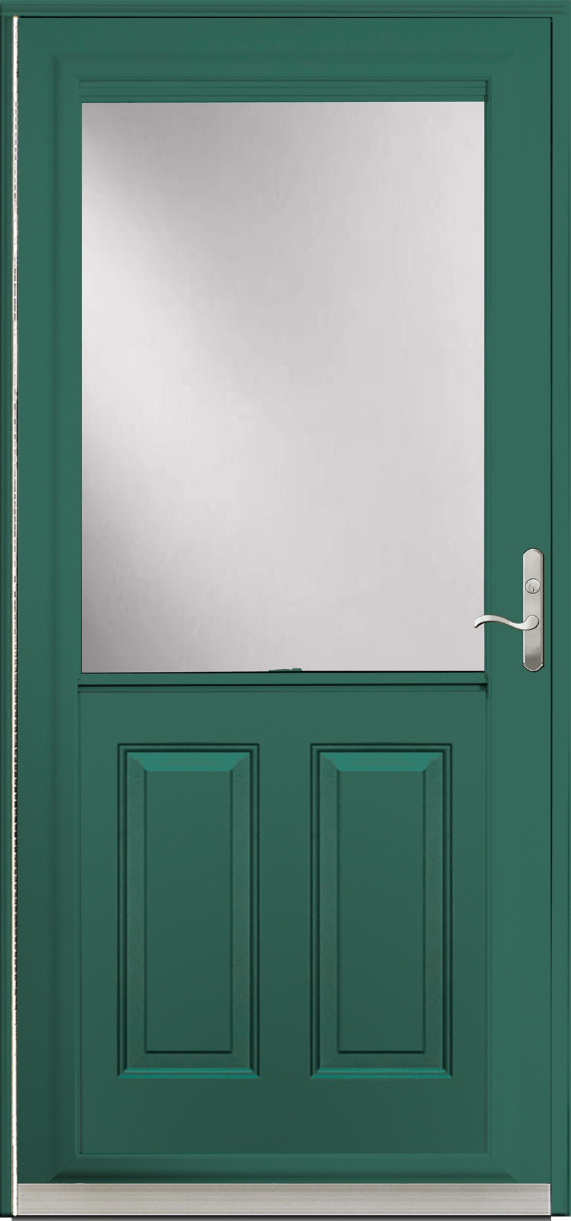 A single green door