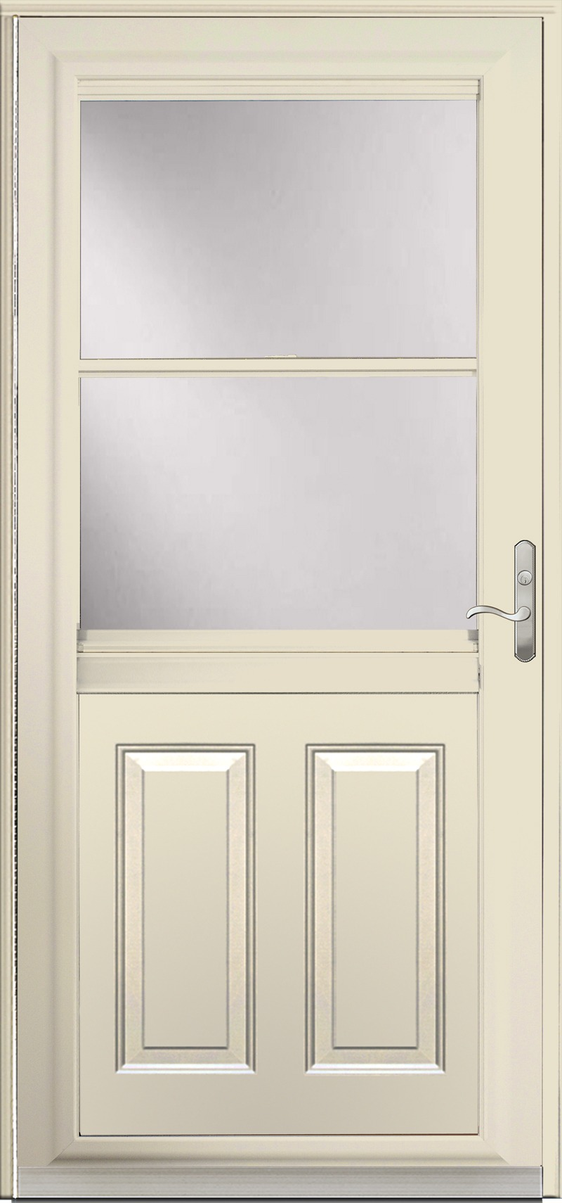 A cream colored door with glass in the upper half