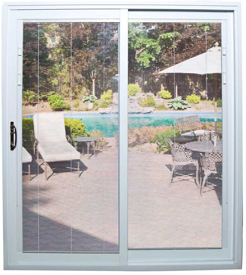 a sliding glass door with mostly open mini-blinds
