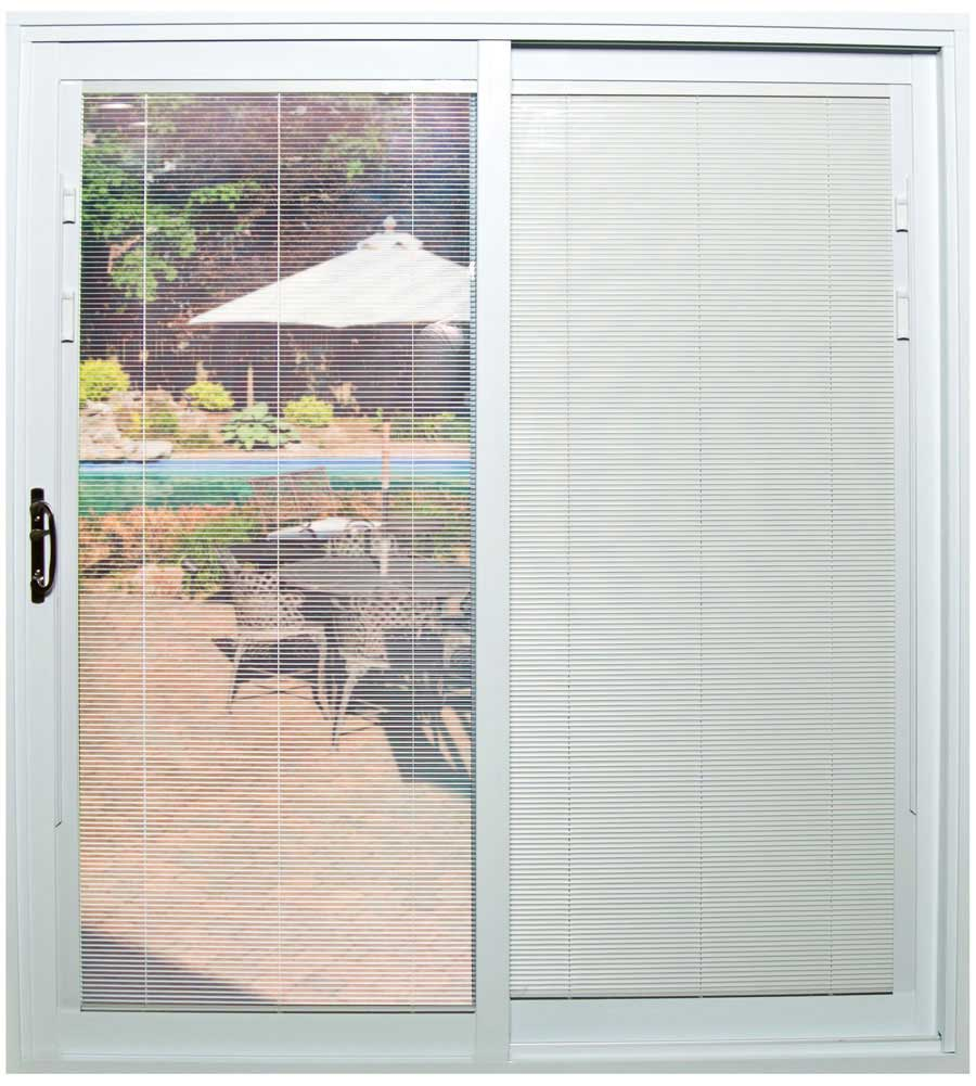 Sliding patio doors with mini-blinds