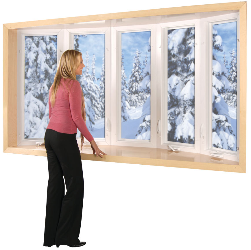 A woman in front of a large bow window looking at snow-covered trees.