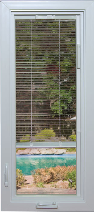 A platinum window with built-in privacy mini-blinds