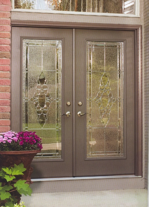 Brown french door with decorative glass and metal