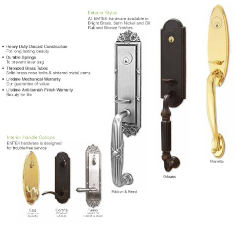 Multiple different door handles, including handles with heavy duty Diecast construction for lasting beauty, durable springs to prevent level sag, threaded brass tubes with solid brass nose bolts & sintered metal cams, a lifetime mechanical warranty and li