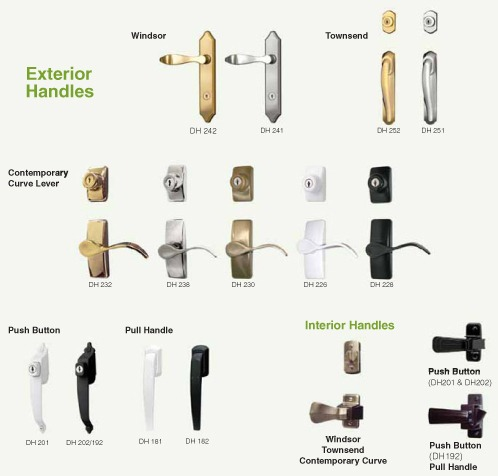 Multiple different door handle styles including Windsor, Townsend, contemporary curve lever, push button, pull handle, and interior handles.