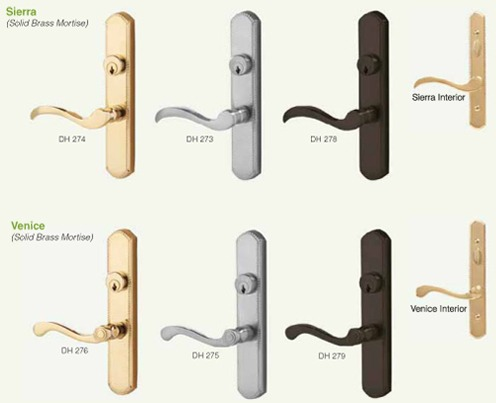 Door handles and locks with Sierra and Venice style handles