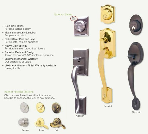 Multiple different door handles and locks, including solid cast brass for long lasting beauty, maximum security deadbolt for peace of mind, nickel silver pins and keys for smooth, reliable operation, heavy duty springs for durable and