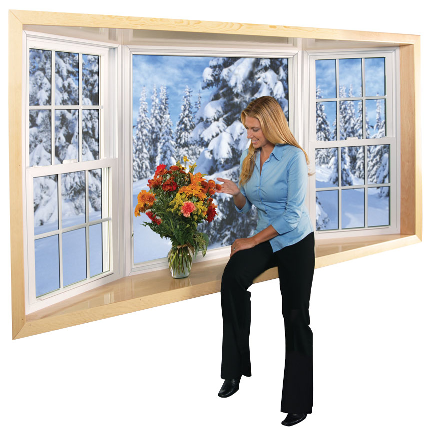 A woman in front of a large bay window looking at snow-covered trees
