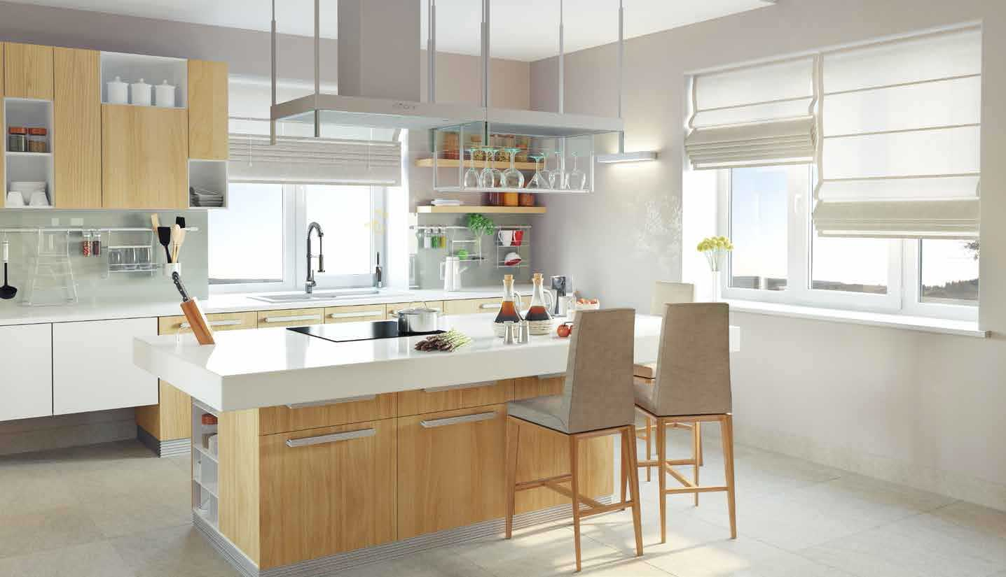 A modern kitchen with large windows letting in plenty of light.