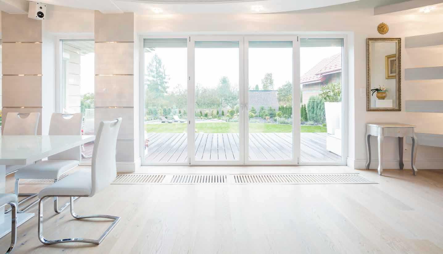 bright indoor view of sliding glass doors